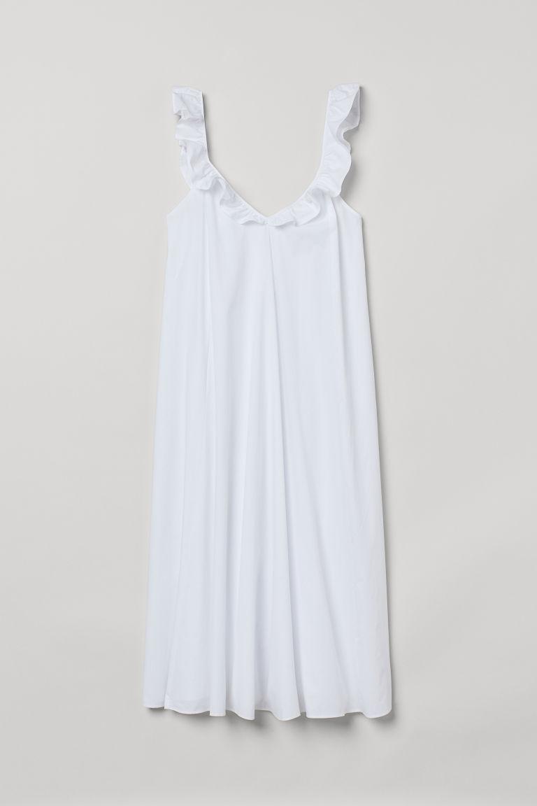 H & M - 荷葉邊洋裝 - 白色