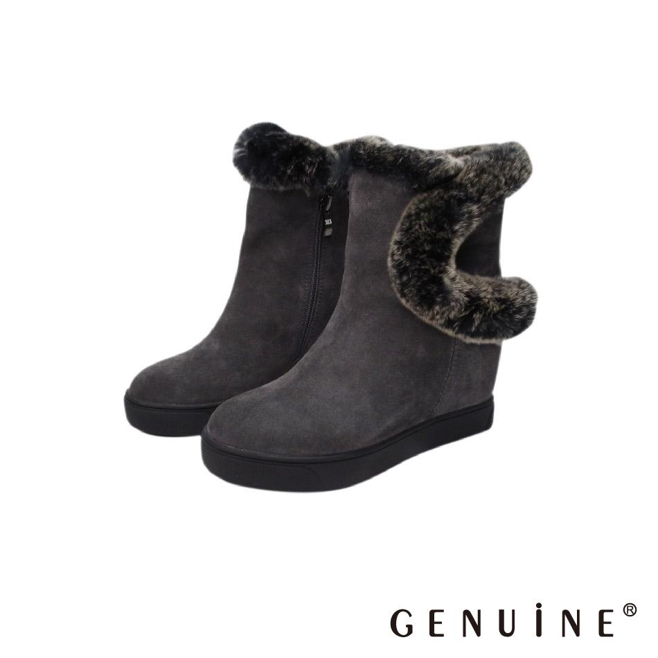 GENUINE 女款 灰色 牛反毛皮毛內增高毛毛靴-G880713