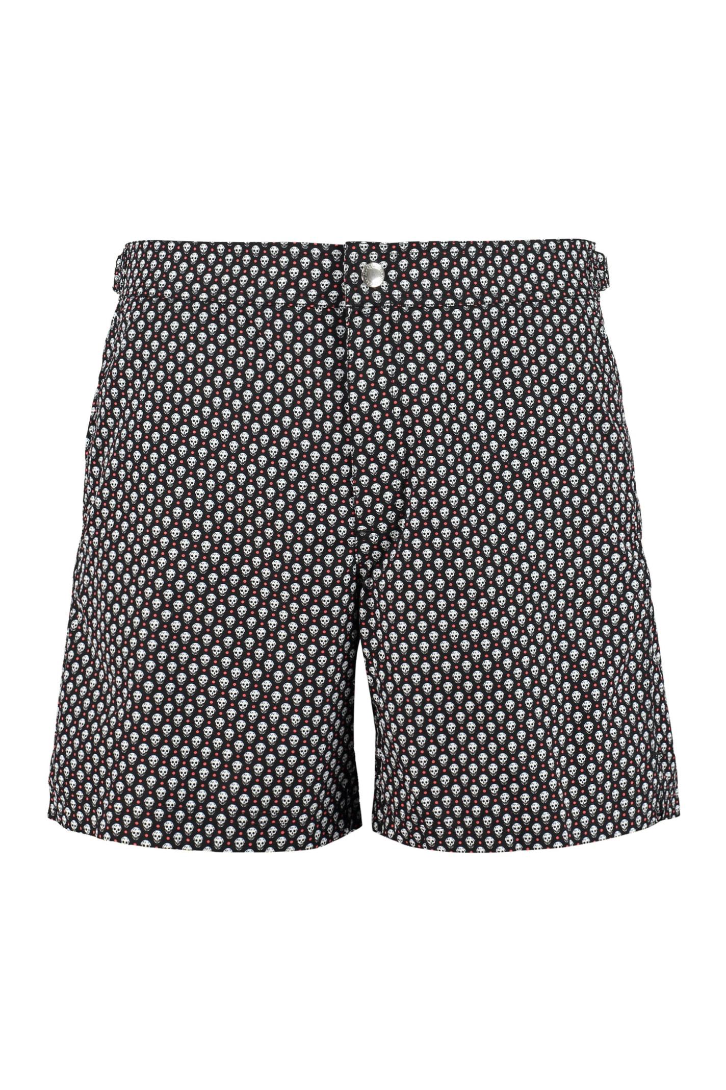 Alexander McQueen Sw Dots Skull Buttoned Shorts