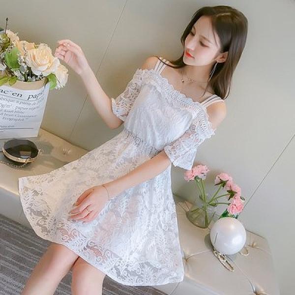 裙子 洋裝 宴會裙實拍 小清新蕾絲收腰顯瘦小個子中長款連衣裙T613.6888皇朝天下