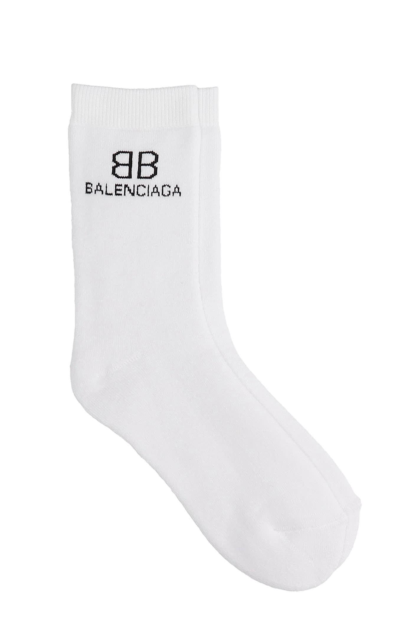 Balenciaga Socks In White Cotton