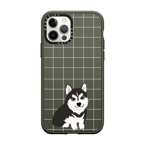 CASETiFY iPhone 12 Pro Casetify Black Impact Resistance Case - HUSKY WHITE GRID