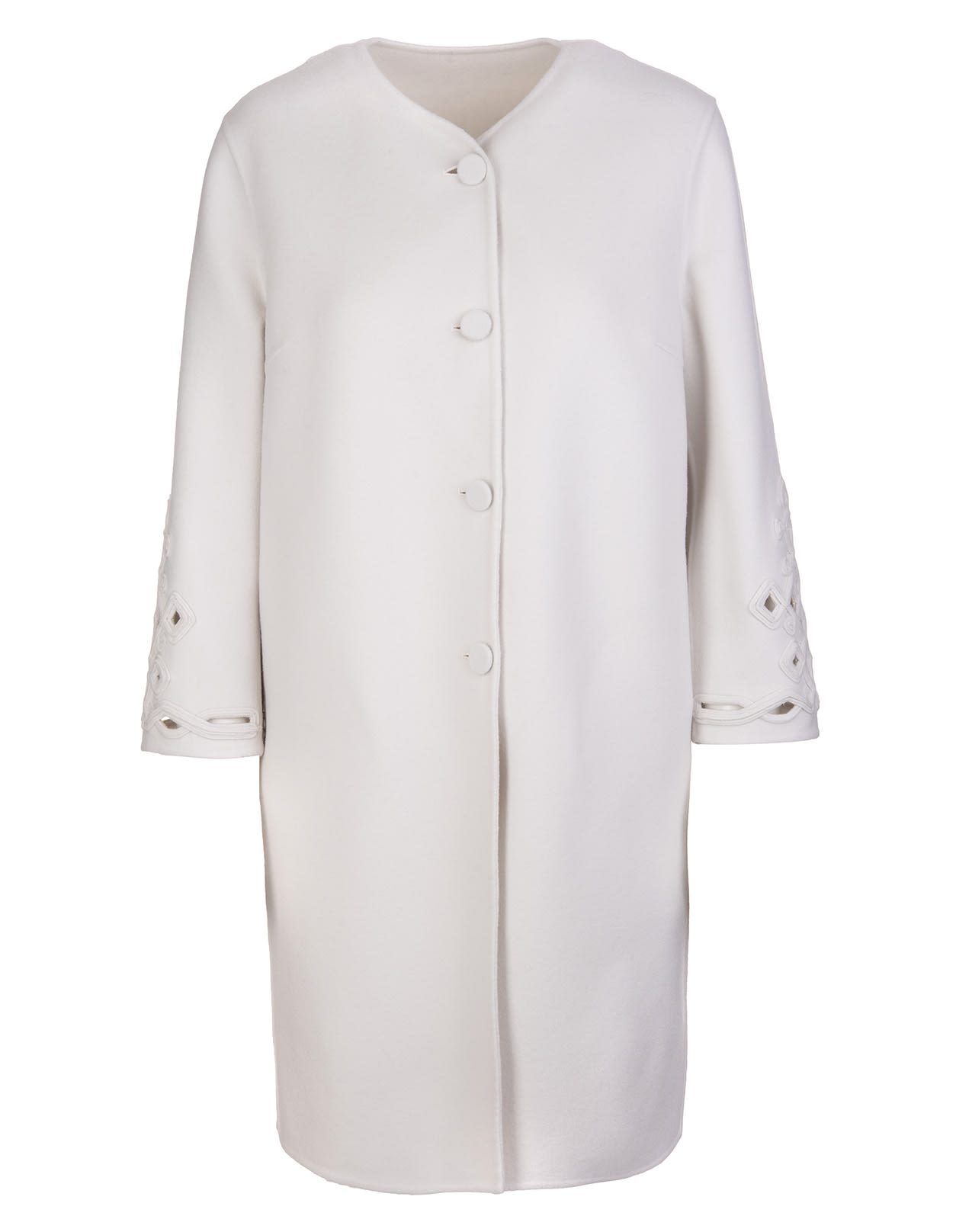 Ermanno Scervino White Coat With Carved Embroidery