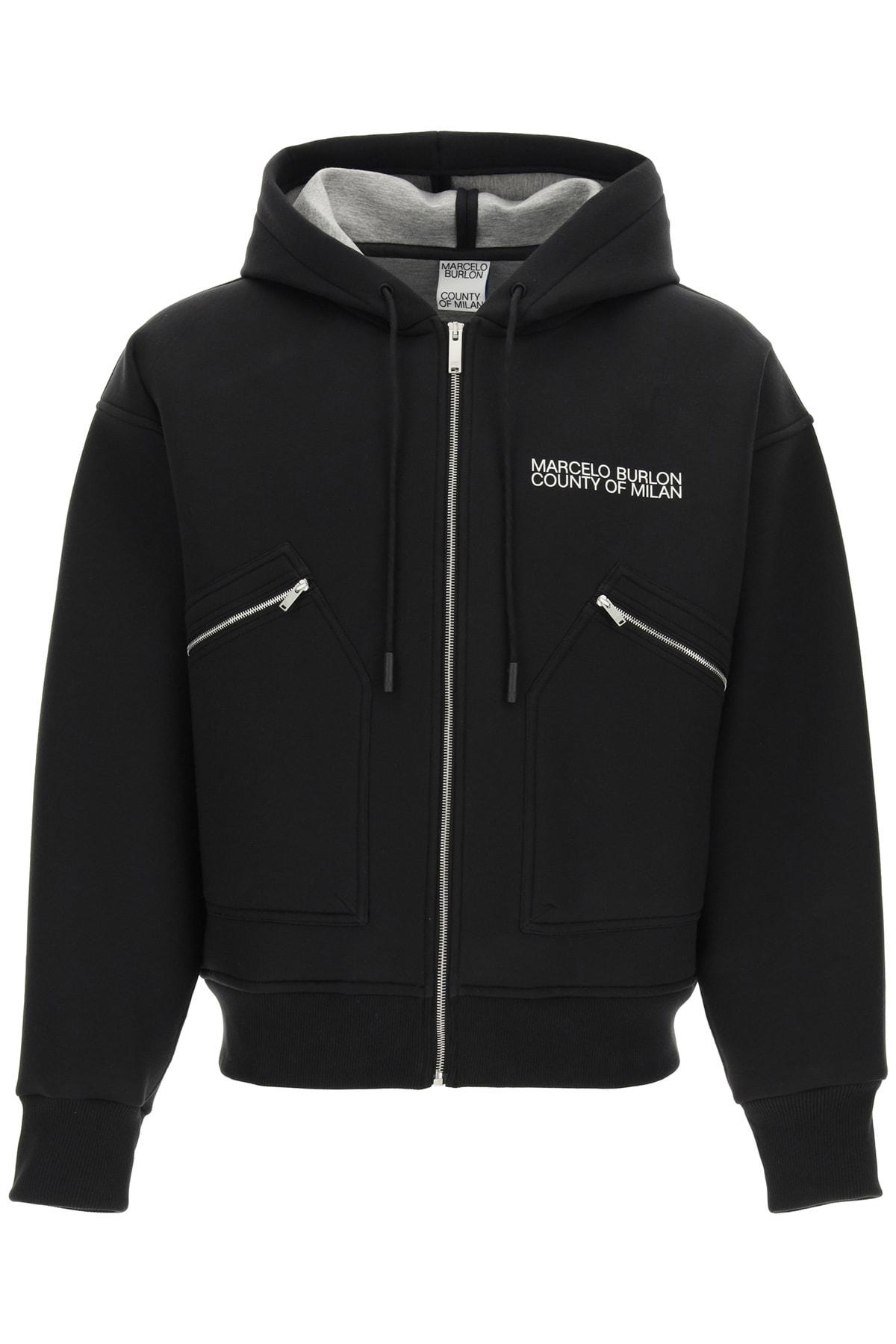 Marcelo Burlon Hooded Sweatshirt With Logo Print