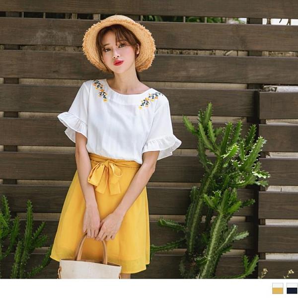 《DA6801-》清新花朵刺繡腰綁帶荷葉袖傘襬洋裝 OB嚴選