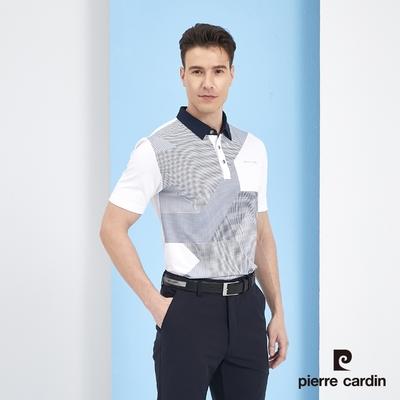 Pierre Cardin皮爾卡登 男裝 吸濕排汗數位印花短袖polo衫-白色(5217211-90)