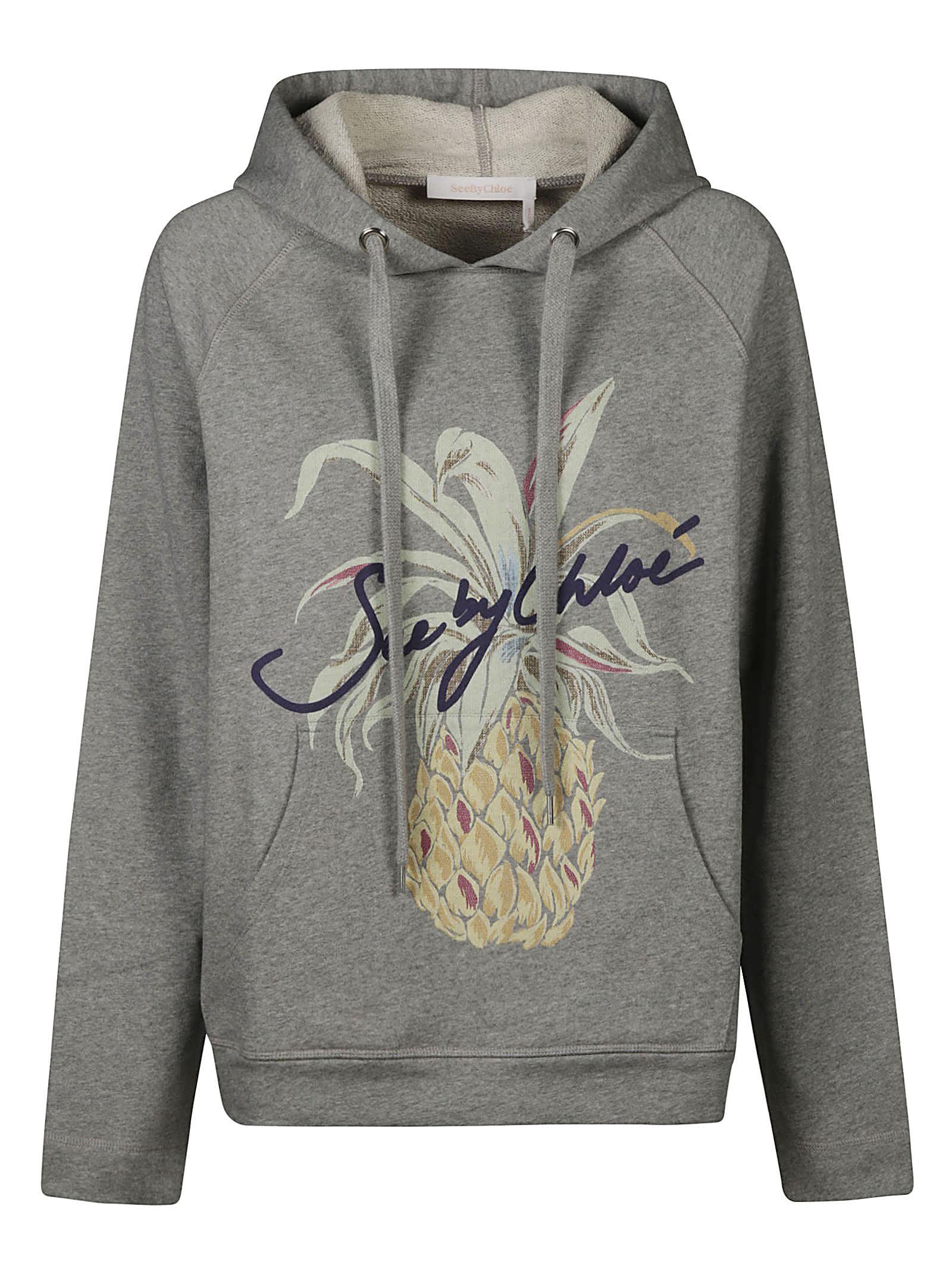 See by Chloé Pineapple Print Logo Hoodie