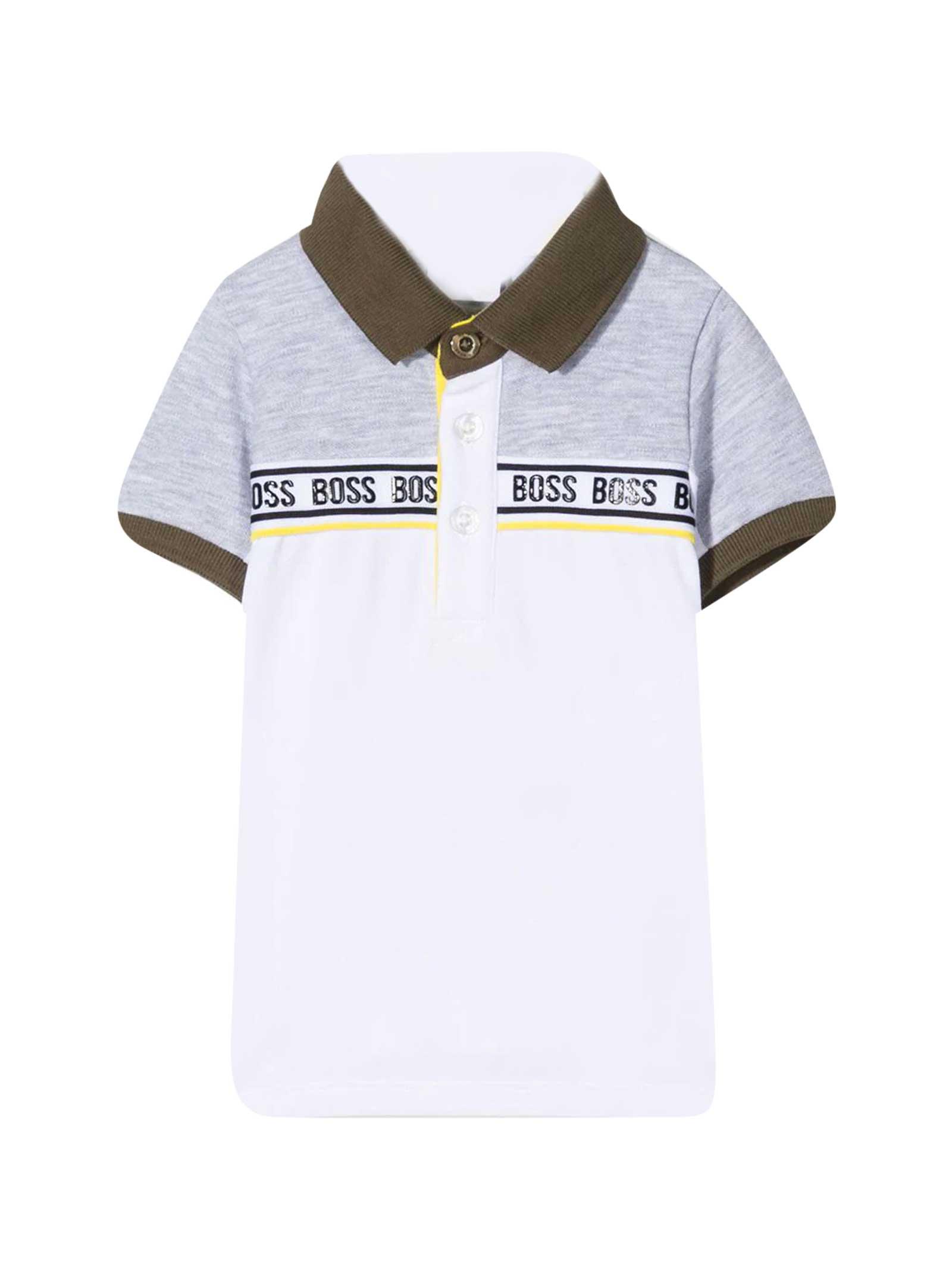 Hugo Boss Grey Polo Shirt With Print