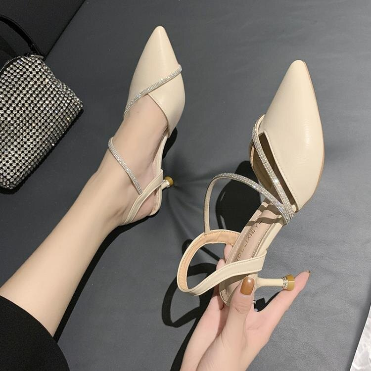 高跟鞋女仙女風夏季裸色一字帶扣涼鞋女細跟性感百搭