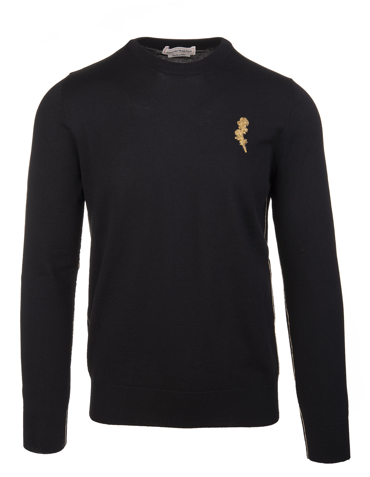 Alexander McQueen Man Black Sweater With Gold Thistle Embroidery