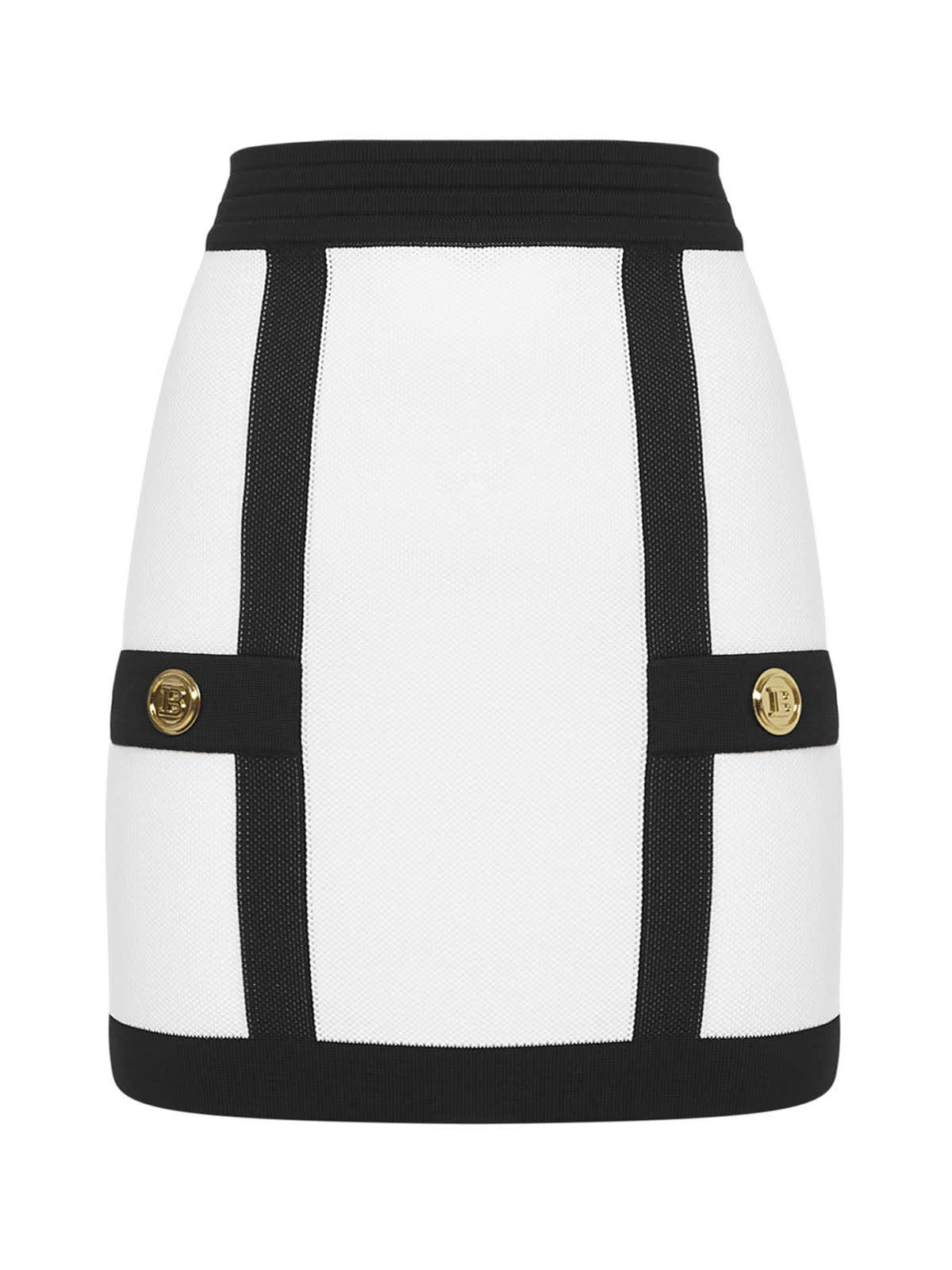 Balmain Short Two-tone Knit Skirt