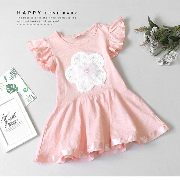 純棉 氣質花朵珍珠緞帶滾邊洋裝 春夏童裝 女童洋裝 女童長版 女童連身裙 女童傘裙