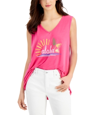 Style & Co Aloha Graphic-Print Tank Top, Created for Macy's
