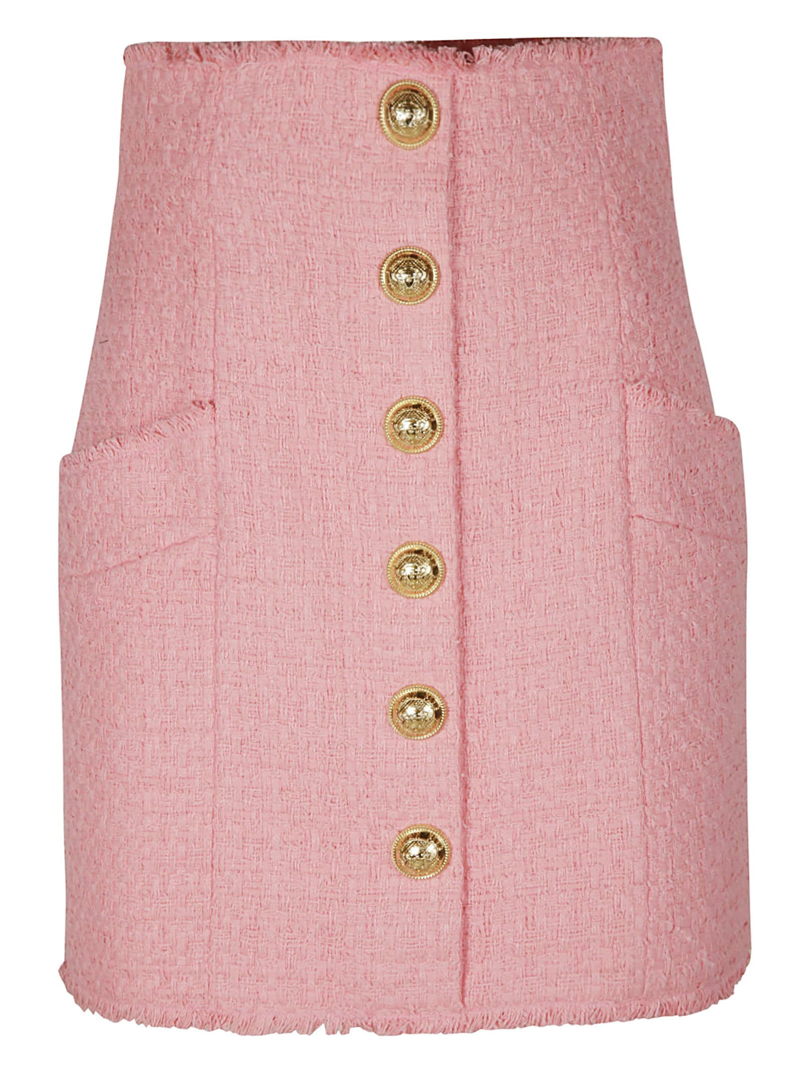 Balmain Rear Zip Button Embellished Woven Skirt