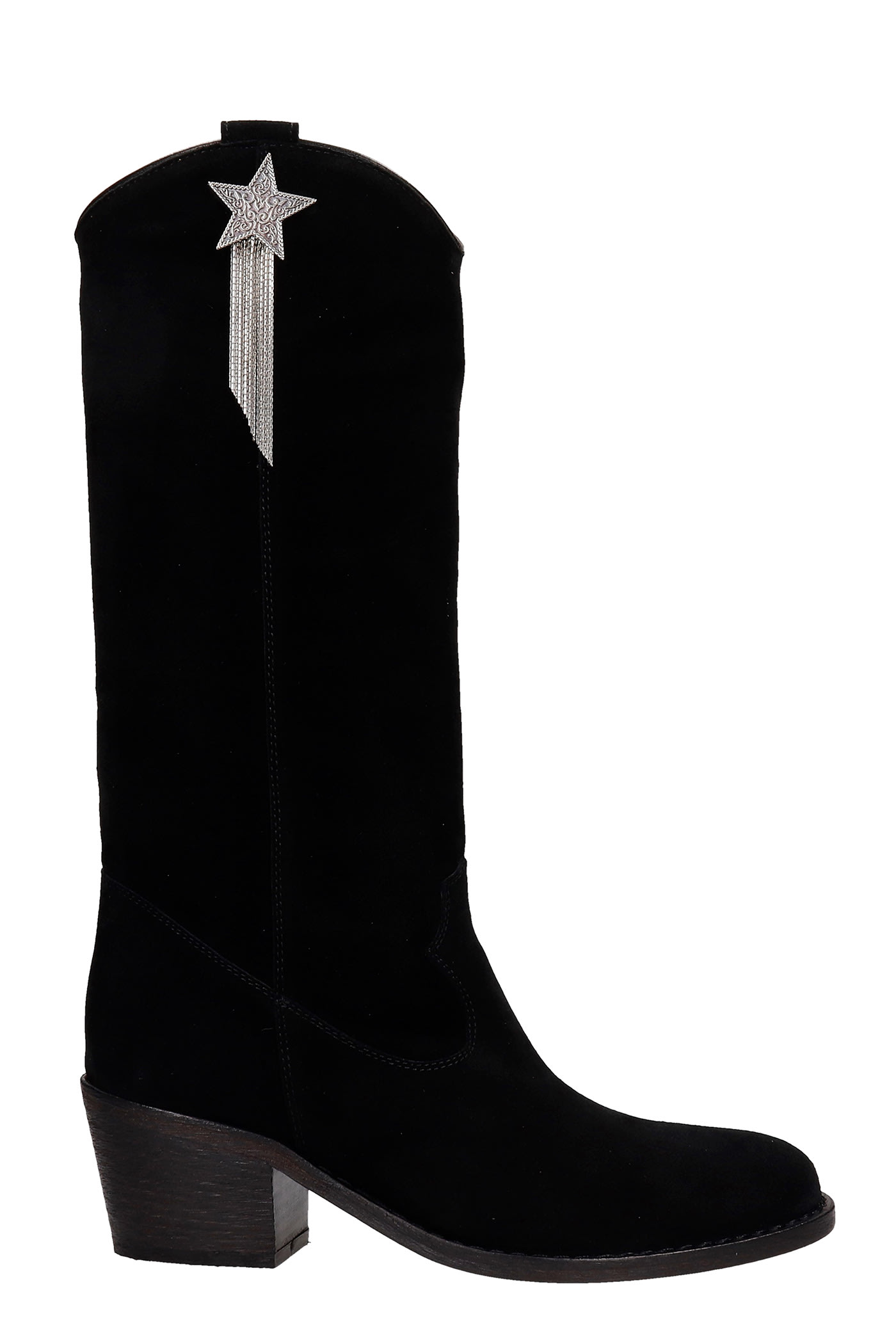 Via Roma 15 Texan Boots In Black Suede