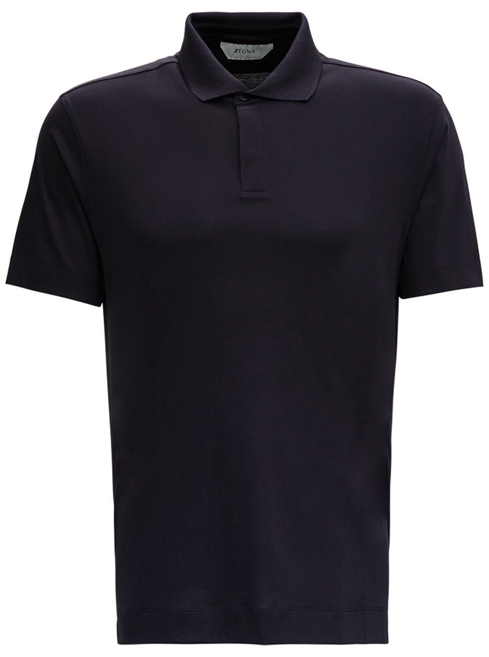 Z Zegna Blue Basic Cotton Polo Shirt