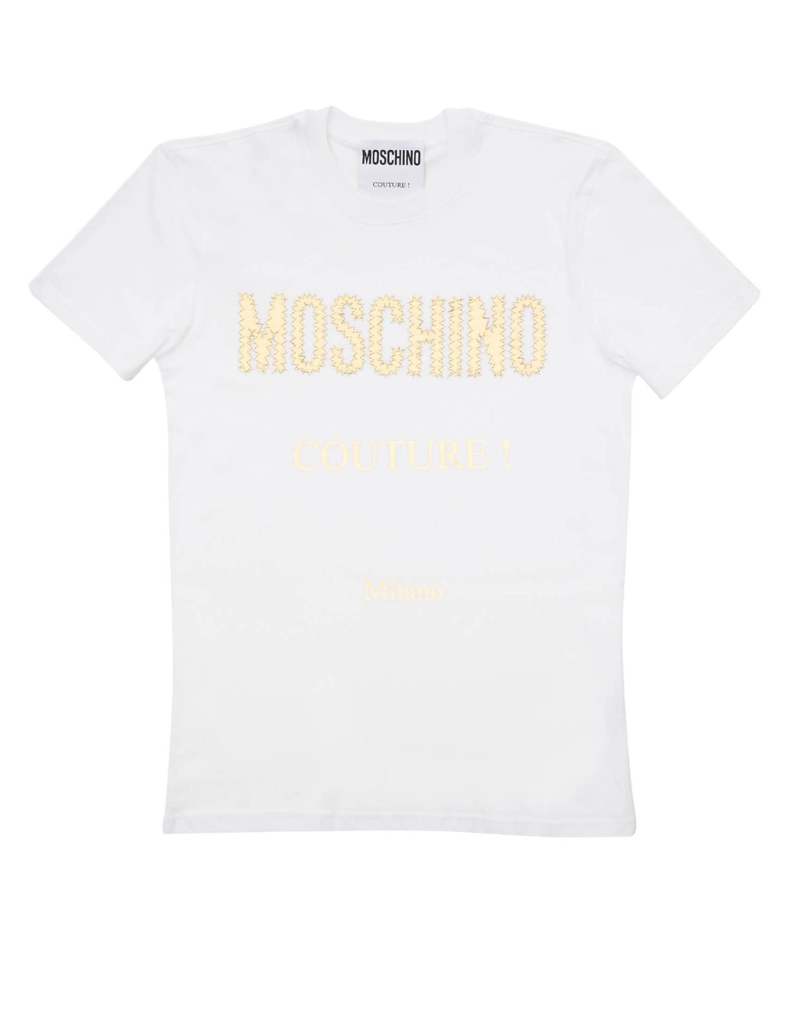 Moschino T-shirt In Jersey With Golden Logo