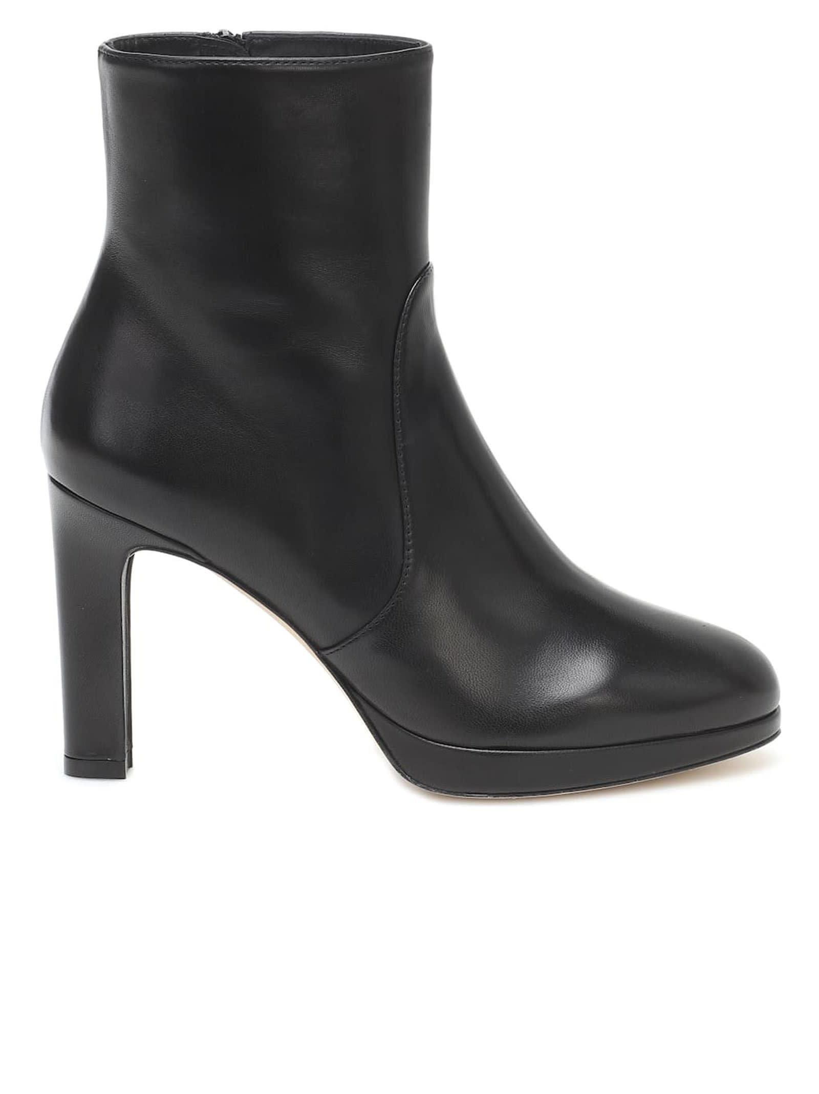 Stuart Weitzman 5051 Black Leather Alani Ankle Boots
