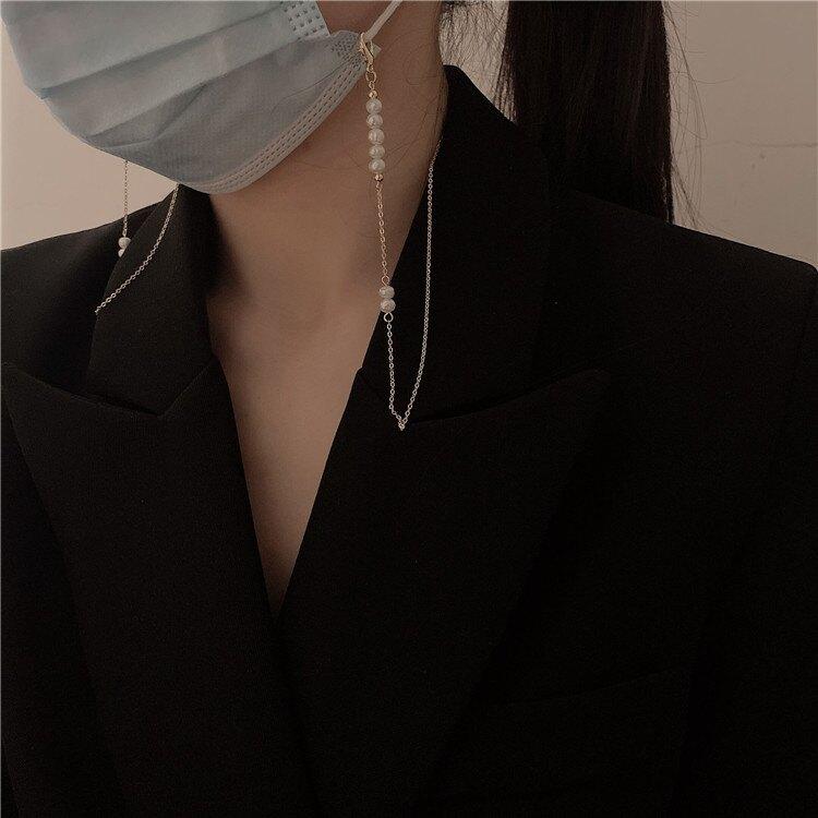 口罩錬 高品質韓國巴洛克淡水珍珠口罩錬項錬簡約金屬錬條口罩防丟錬掛脖『XY22139』【免運】