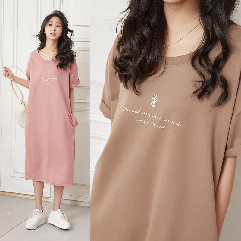 小葉子字母側袋後衩長洋裝-eFashion 預【P10110230】