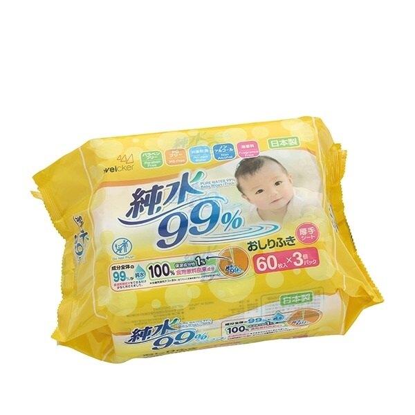 Weicker 唯可 純水99.9%日本製濕紙巾(厚型)(3入)60抽X12串(36包/箱購)★愛兒麗婦幼用品★