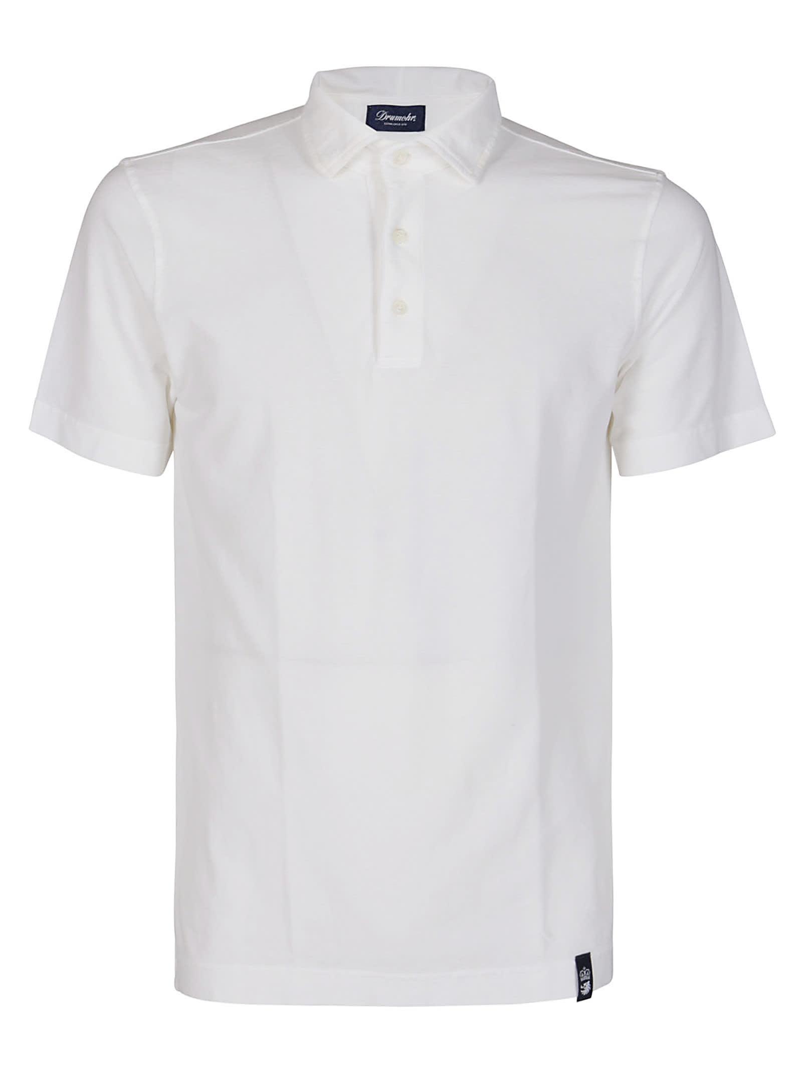 Drumohr White Cotton Polo Shirt