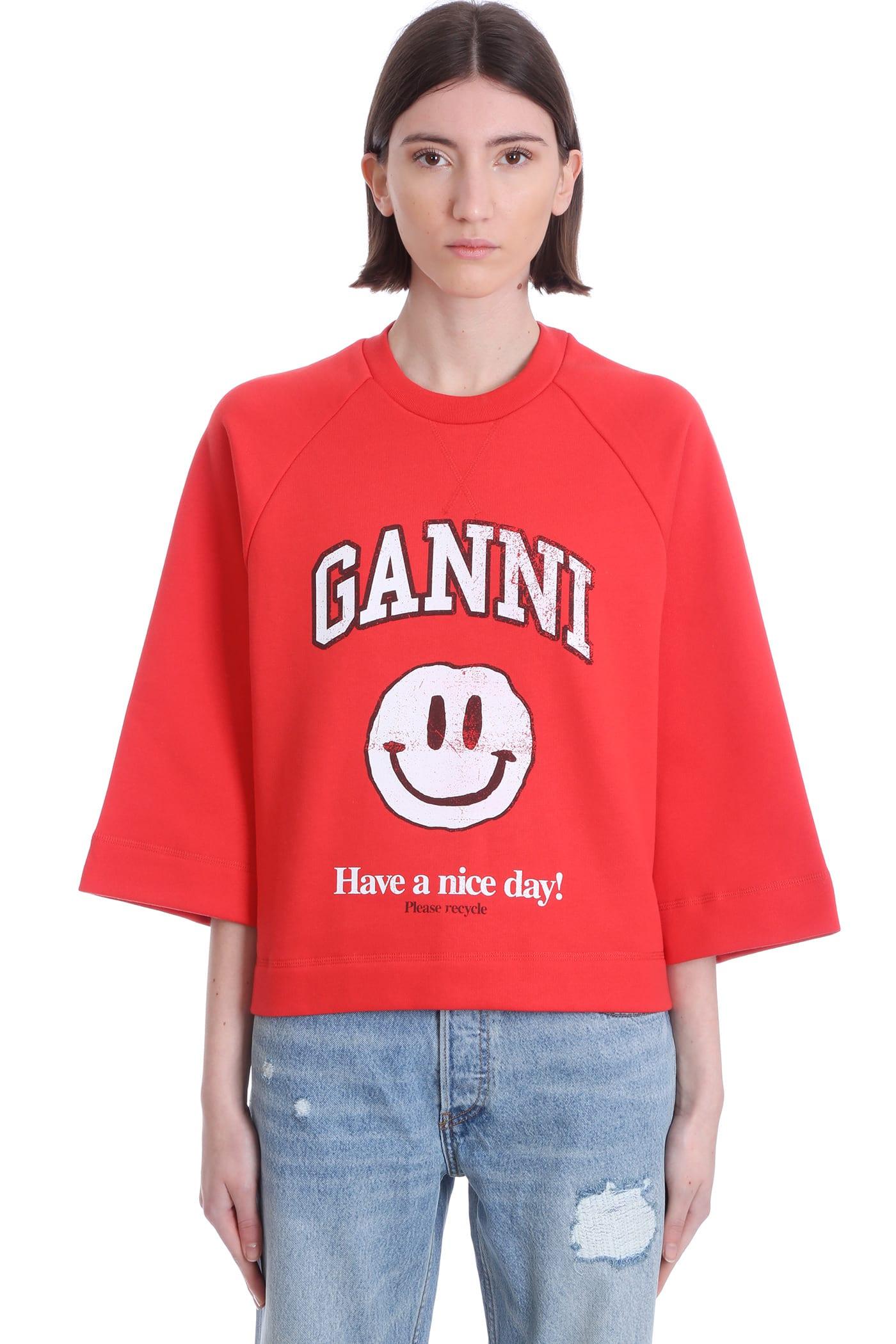 Ganni Sweatshirt In Red Cotton