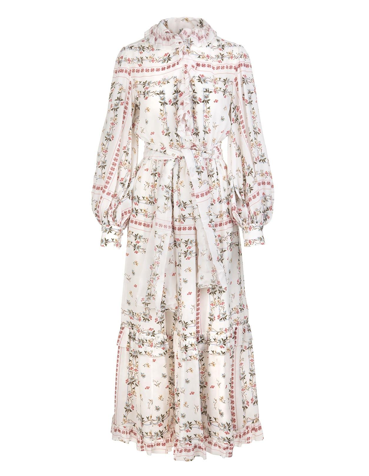 Etro Floral Crepe De Chine Long Dress