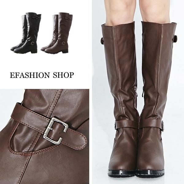 ★秋冬現貨★長靴-前後扣帶皮質低跟長靴-eFashion 【C15280500】