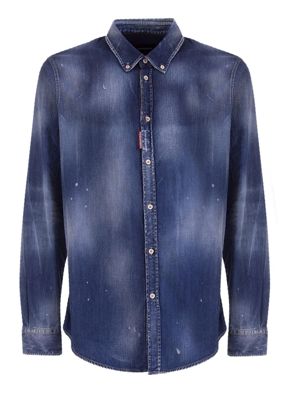 Dsquared2 Acid-wash Denim Shirt