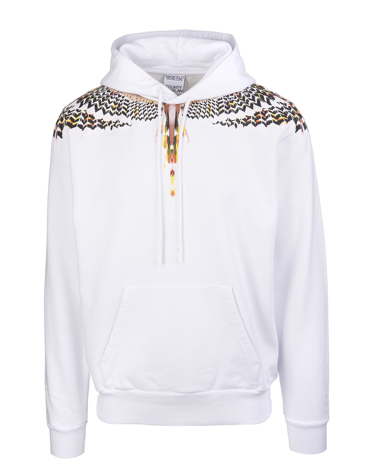 Marcelo Burlon Man White And Yellow Grizzly Wings Hoodie