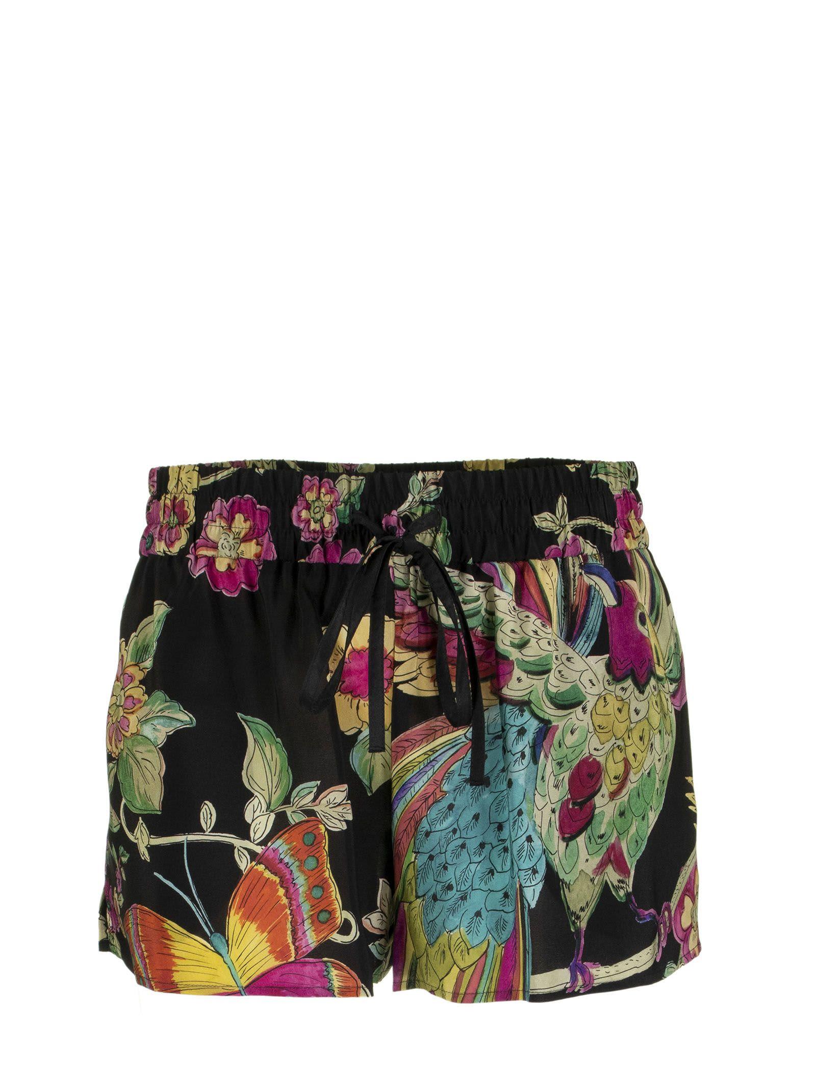 RED Valentino Shorts Flora Printed Silk Black