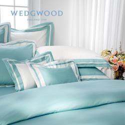 【WEDGWOOD】500織長纖棉Bi-Color鬆緊床包單件組(薄荷藍)-雙人