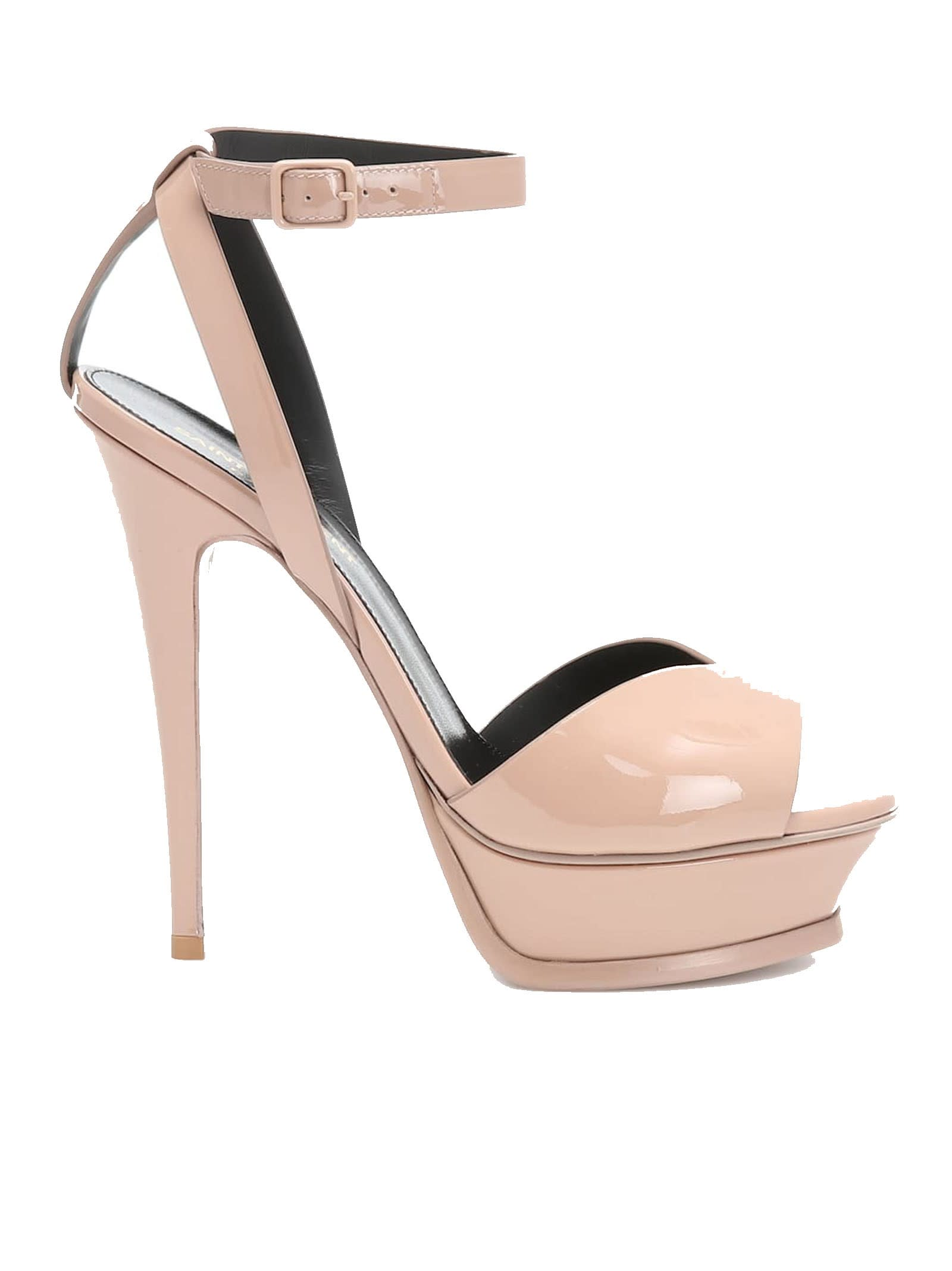 Saint Laurent Tribute Lips Sandals In Nude Patent Leather