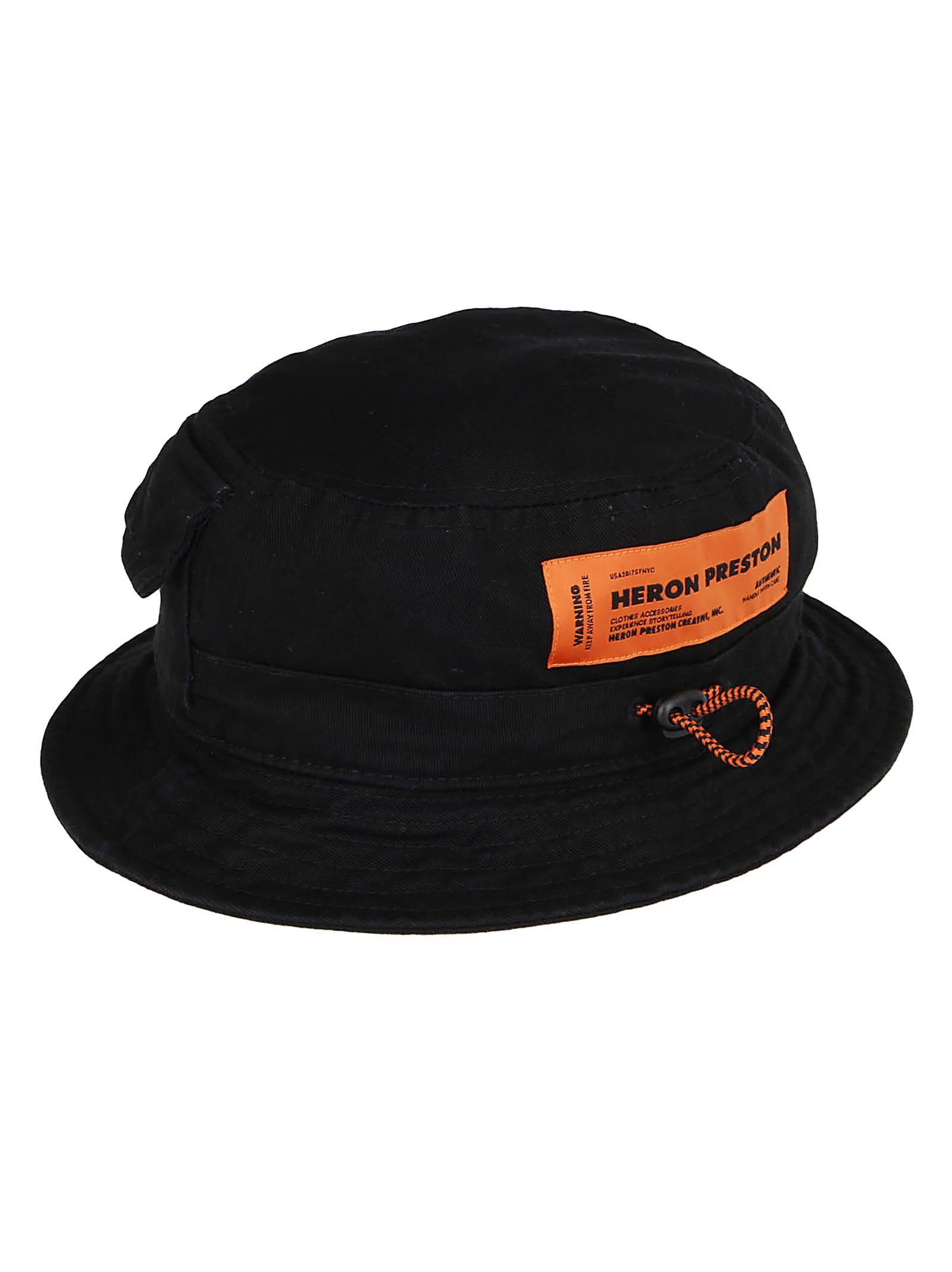 HERON PRESTON Black Cotton Bucket Hat
