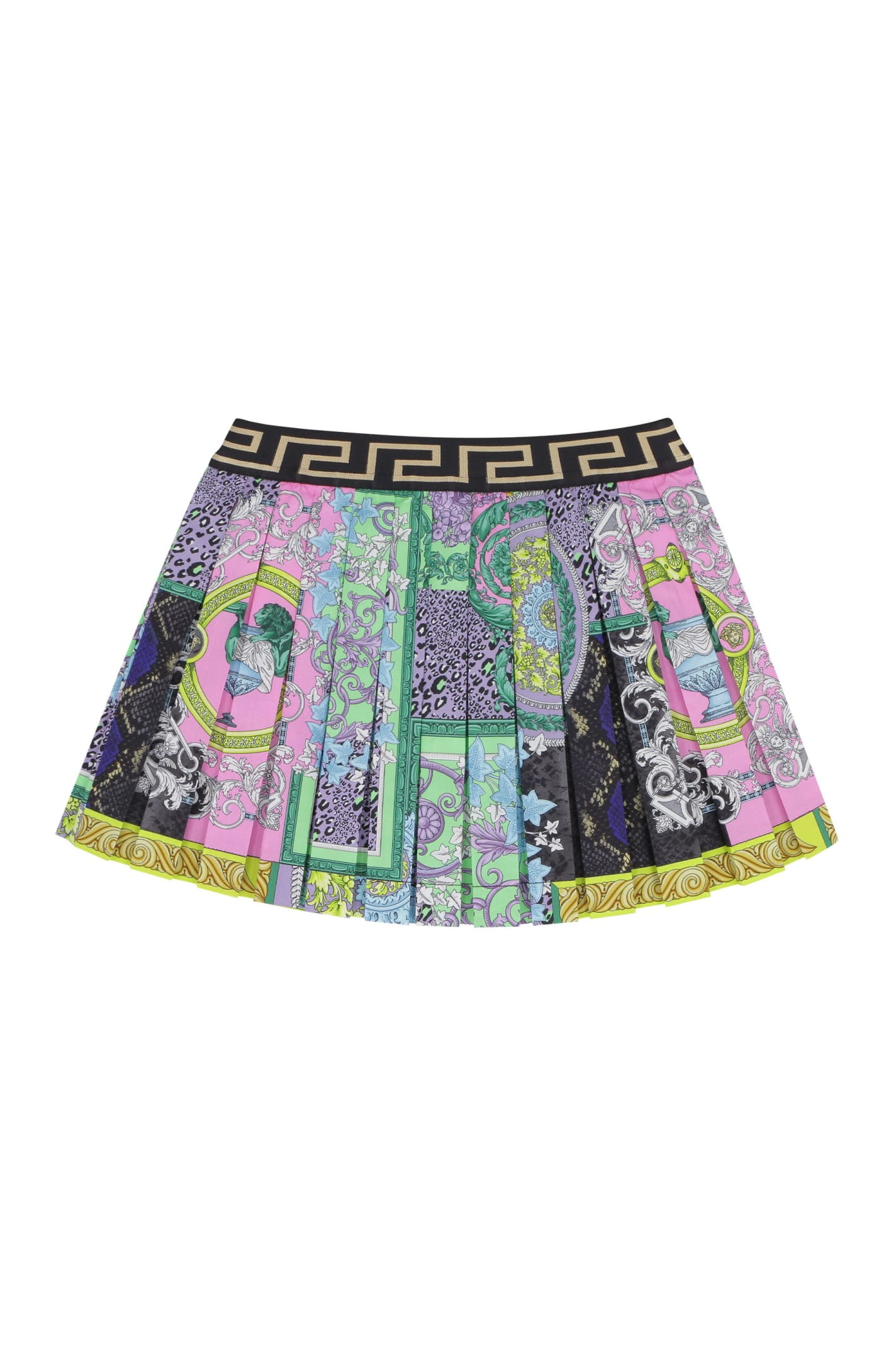 Young Versace Printed Pleated Skirt