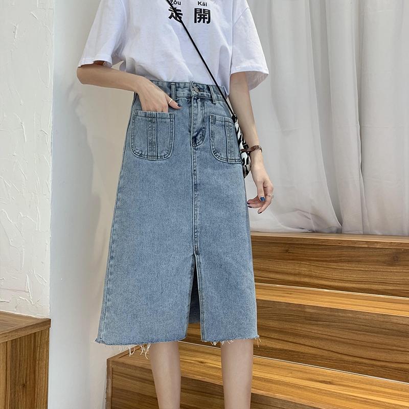 牛仔長裙 牛仔半身裙女夏2021新款韓版設計感高腰顯瘦A字包臀裙開叉中長裙  7號Fashion家居館