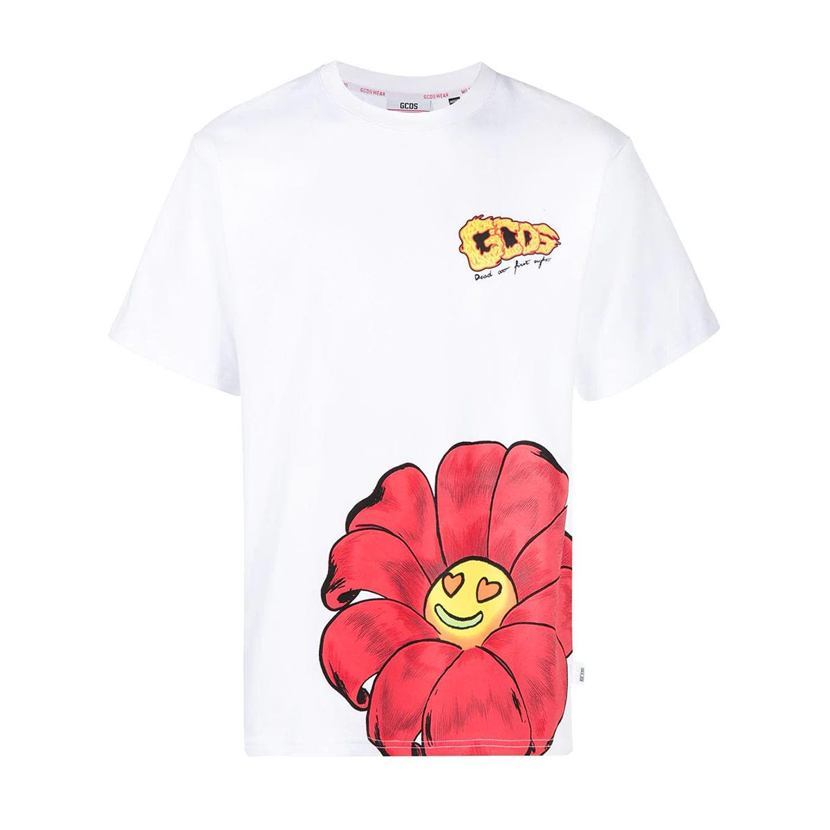 GCDS T-shirt Bianca Con Fiore Uomo