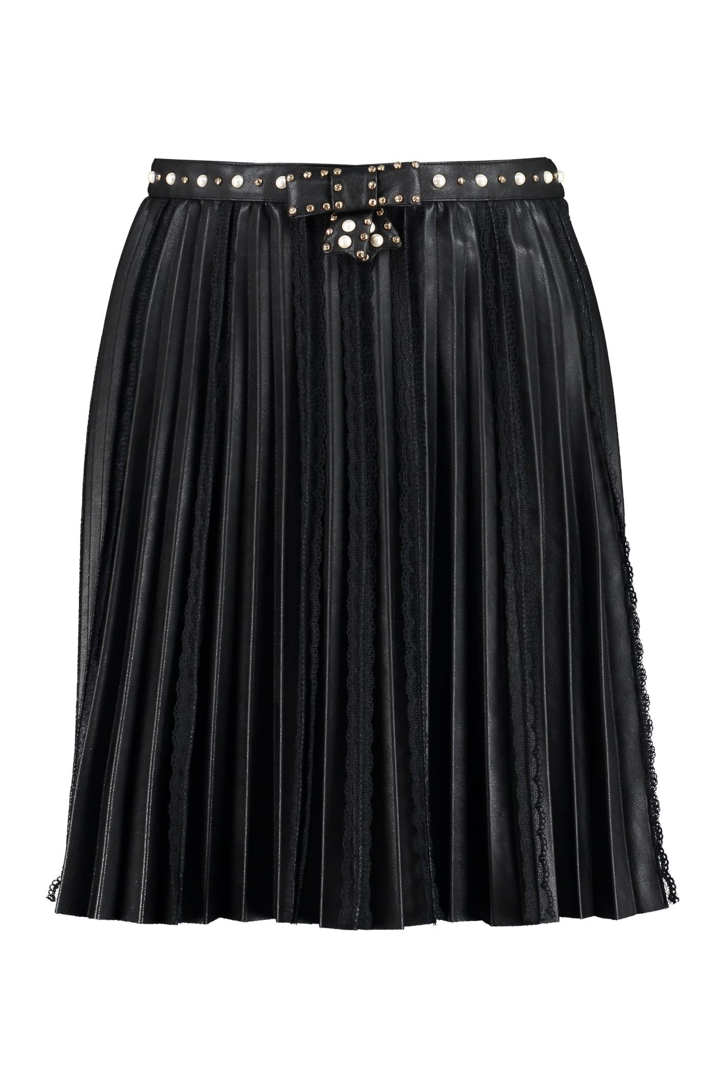 Elisabetta Franchi Faux Leather Pleated Mini Skirt