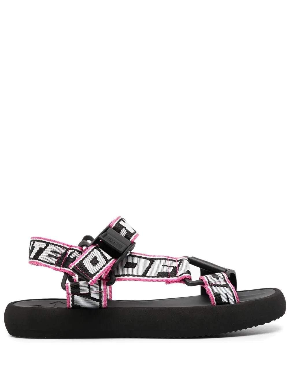 Off-White Woman Rubber Sandal With Black And Pink Logoed Nylon Tapes