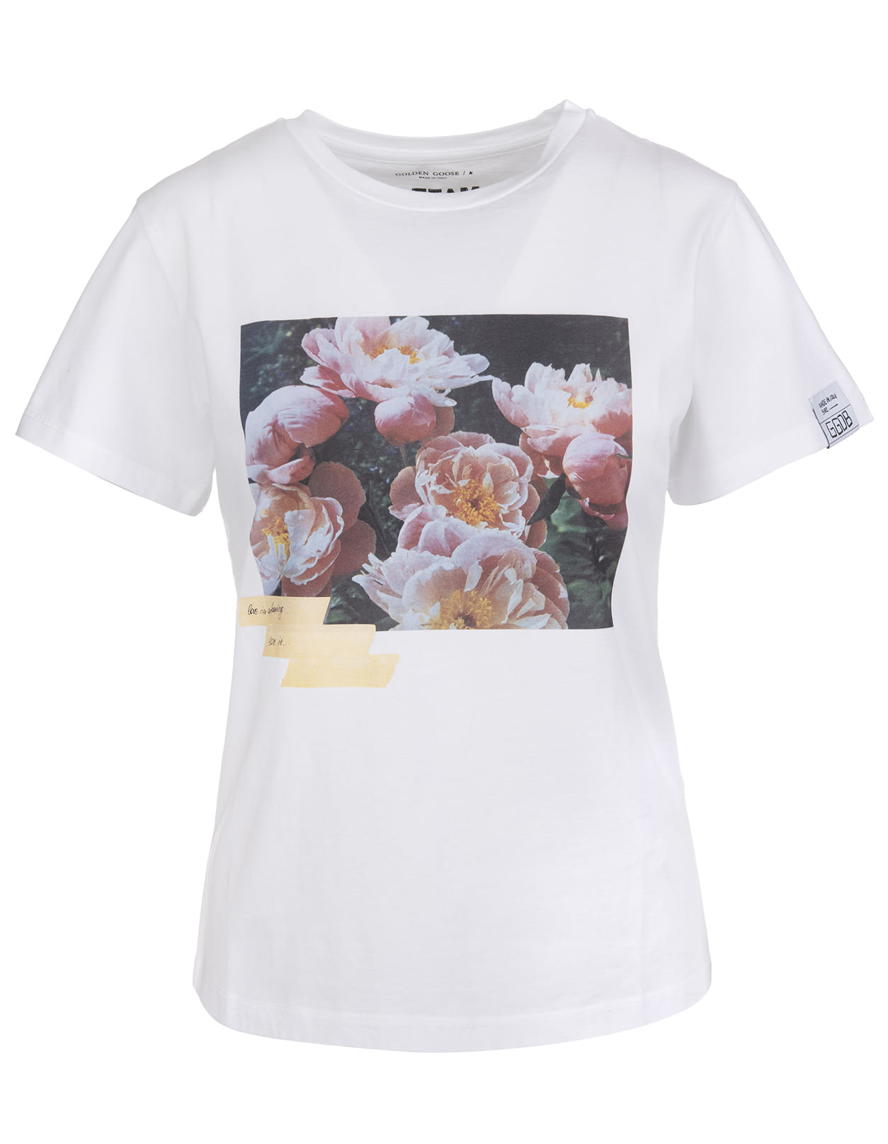 Golden Goose Ania White Woman T-shirt Dream Maker Collection With Adhesive Tape Effect Print