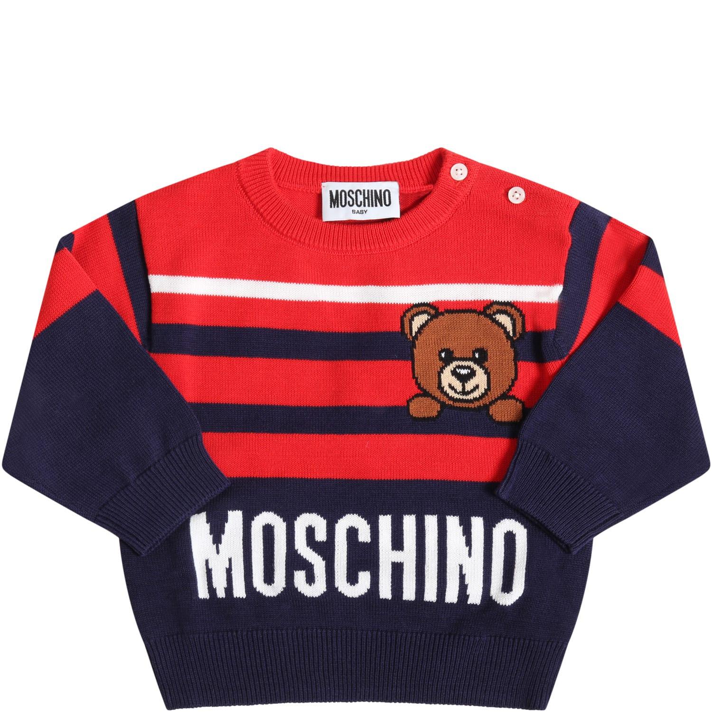 Moschino Maglione Multicolor Per Neonato Con Logo