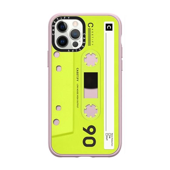 CASETiFY iPhone 12 Pro Casetify Black Impact Resistance Case - CASETiFY MiXTAPE - Neon Yellow