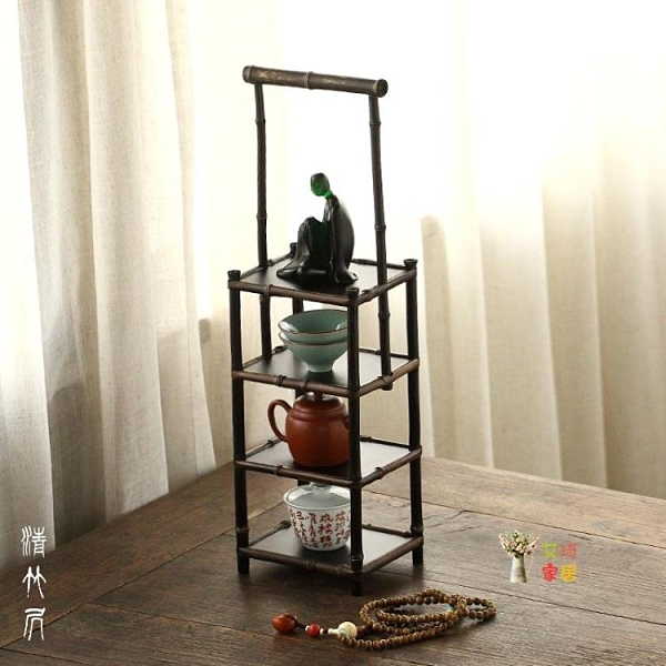 茶棚收納架 紫竹明式手提茶杯架茶具多寶格茶壺 展示收納架老紫竹茶棚T