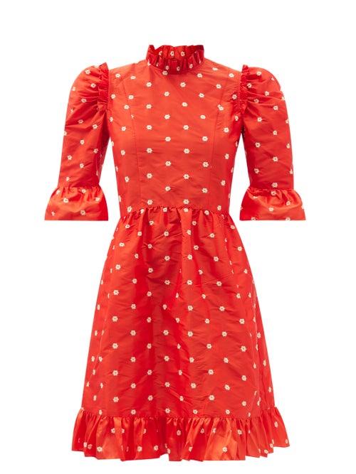 Batsheva - Spring Floral-embroidered Silk-taffeta Dress - Womens - Red Multi