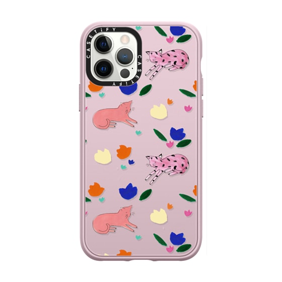 CASETiFY iPhone 12 Pro Casetify Black Impact Resistance Case - Pink Cats