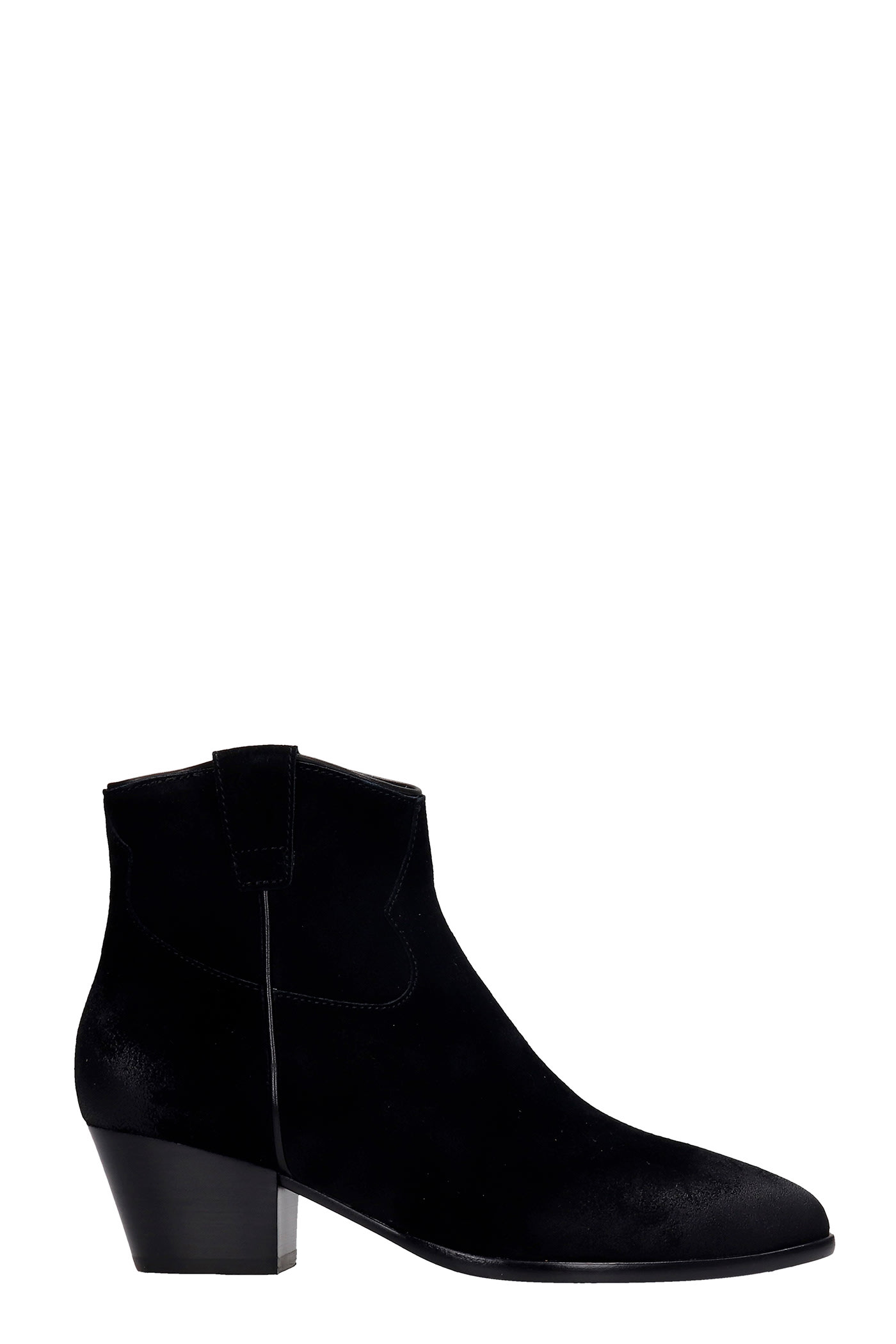Ash Houston 02 Texan Ankle Boots In Black Suede