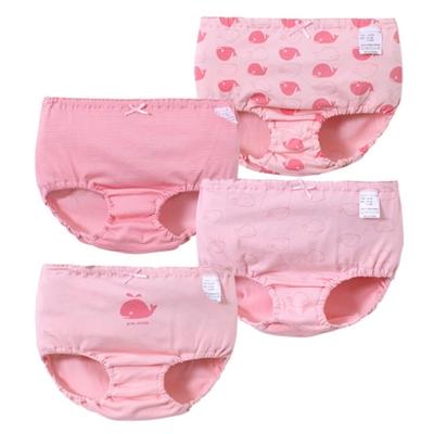 【優貝選】優質小鯨魚女童純棉透氣三角包屁小內褲四入組-粉色組