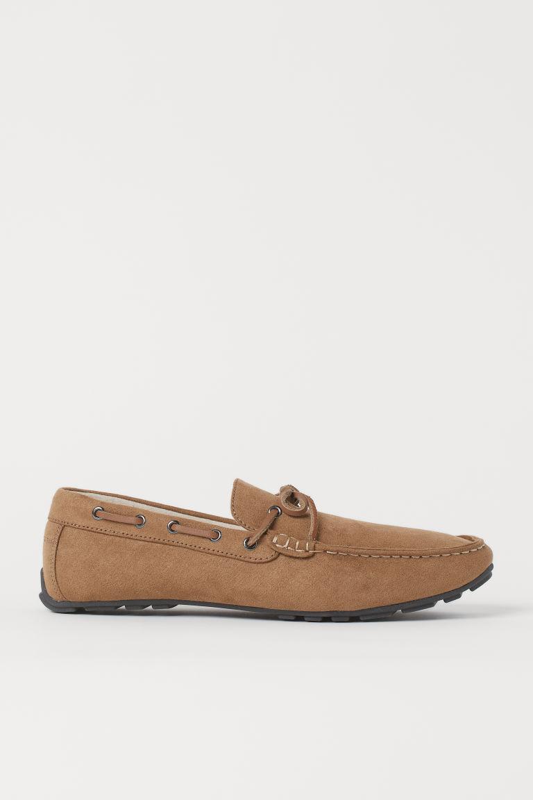 H & M - 仿麂皮樂福鞋 - 米黃色