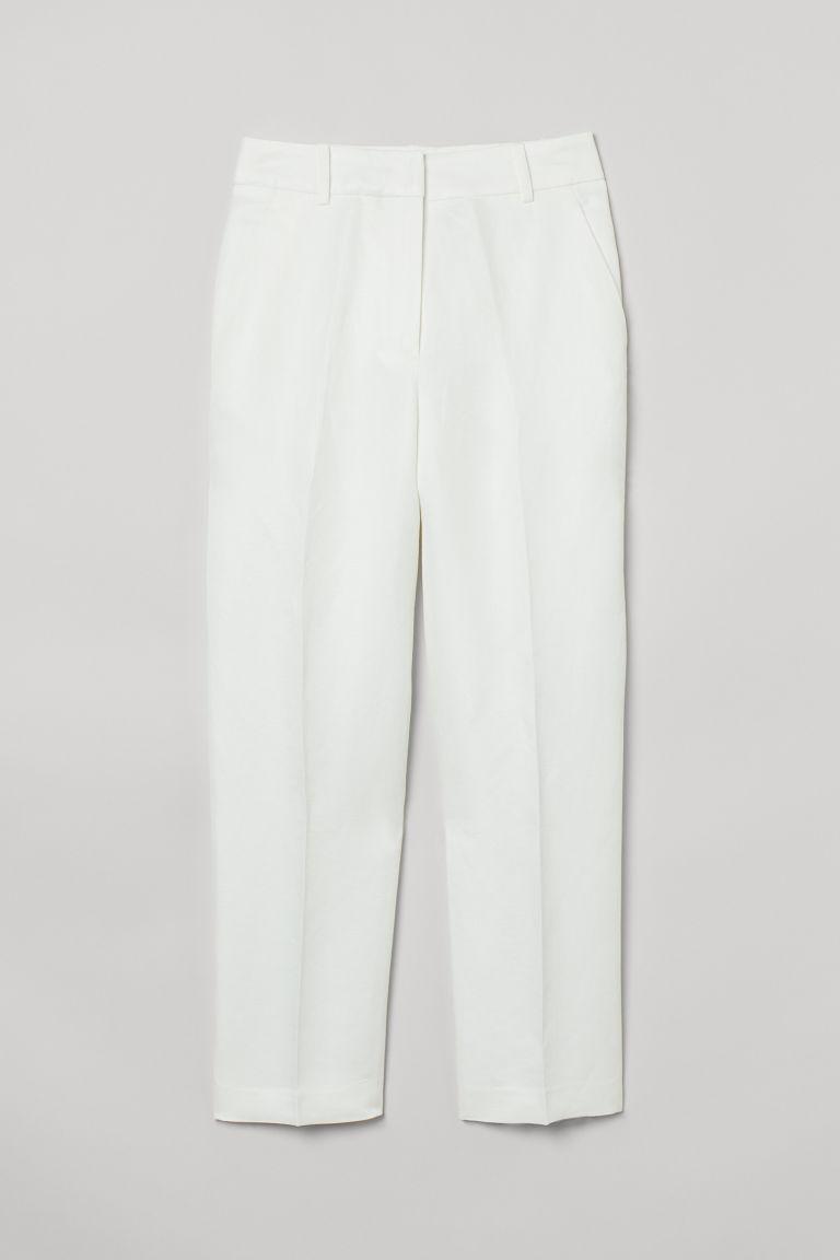 H & M - 煙管褲 - 白色